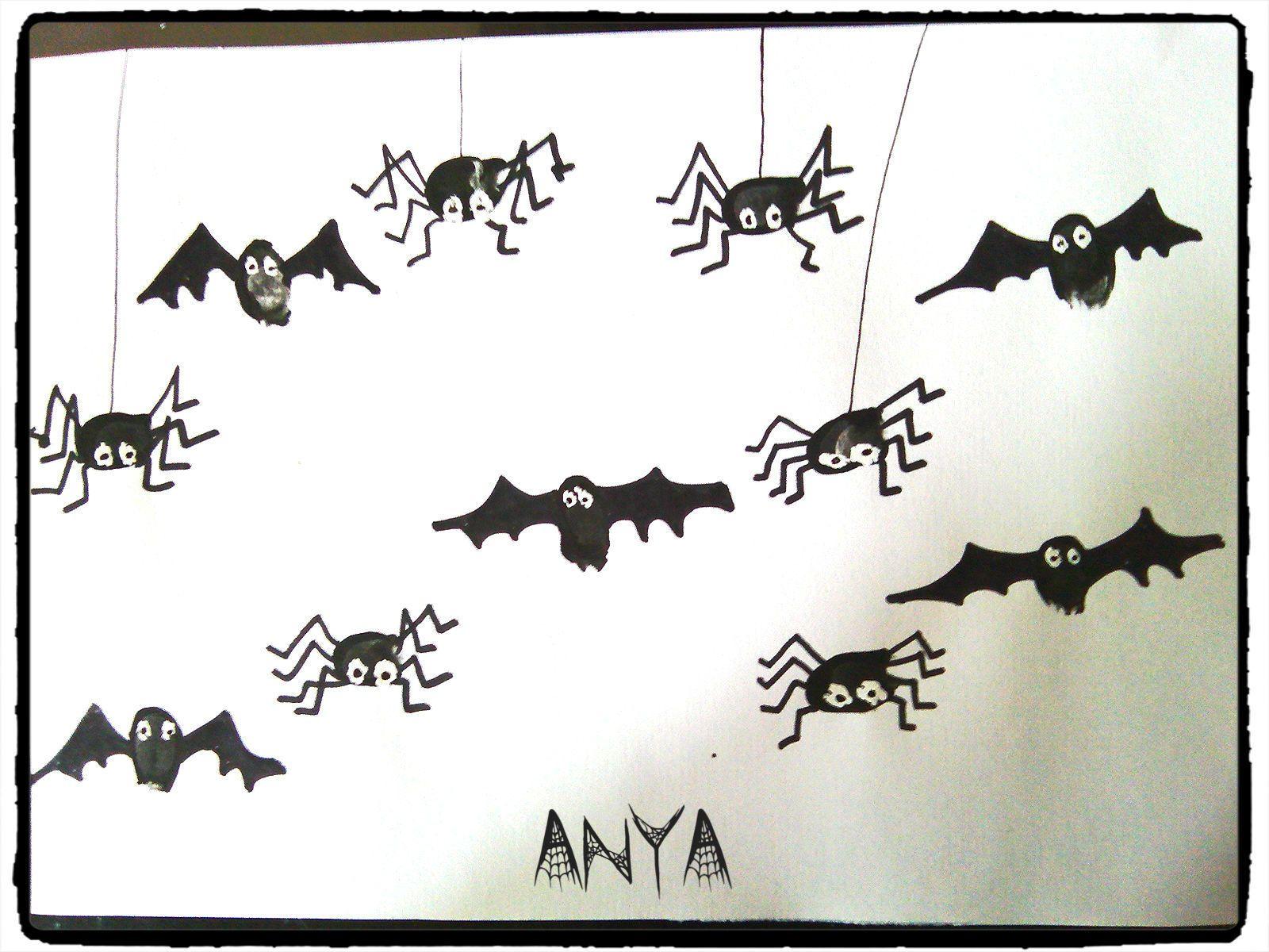halloween chauve souris araign es empreinte de doigts. Black Bedroom Furniture Sets. Home Design Ideas