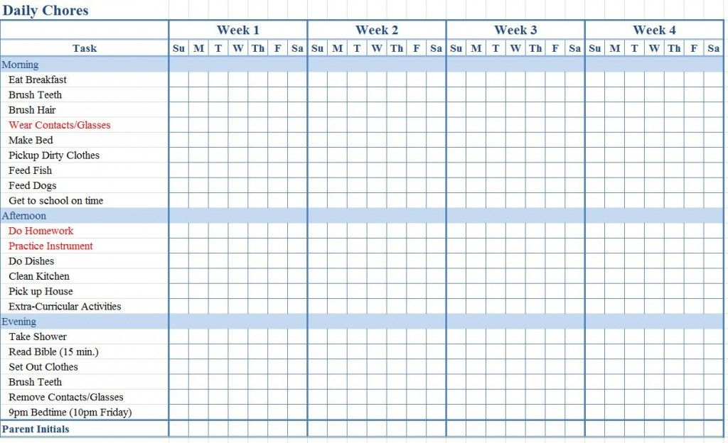 Kids Chore Chart Template  Chore Charts Kids    Chore