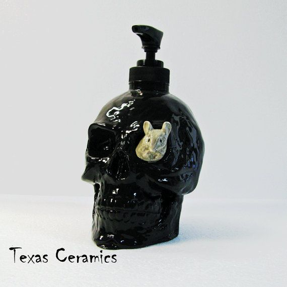 Black Skull Soap Dispenser With Grey Mouse Ceramic Liquid Soap Or