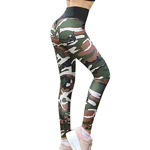 64c23a63a3d2ac Women's Camouflage Yoga Pants E-Scenery High Waist Soft Sports Gym Yoga  Workout Leggings Running Fitness Elastic Pants (Green XX-Large)
