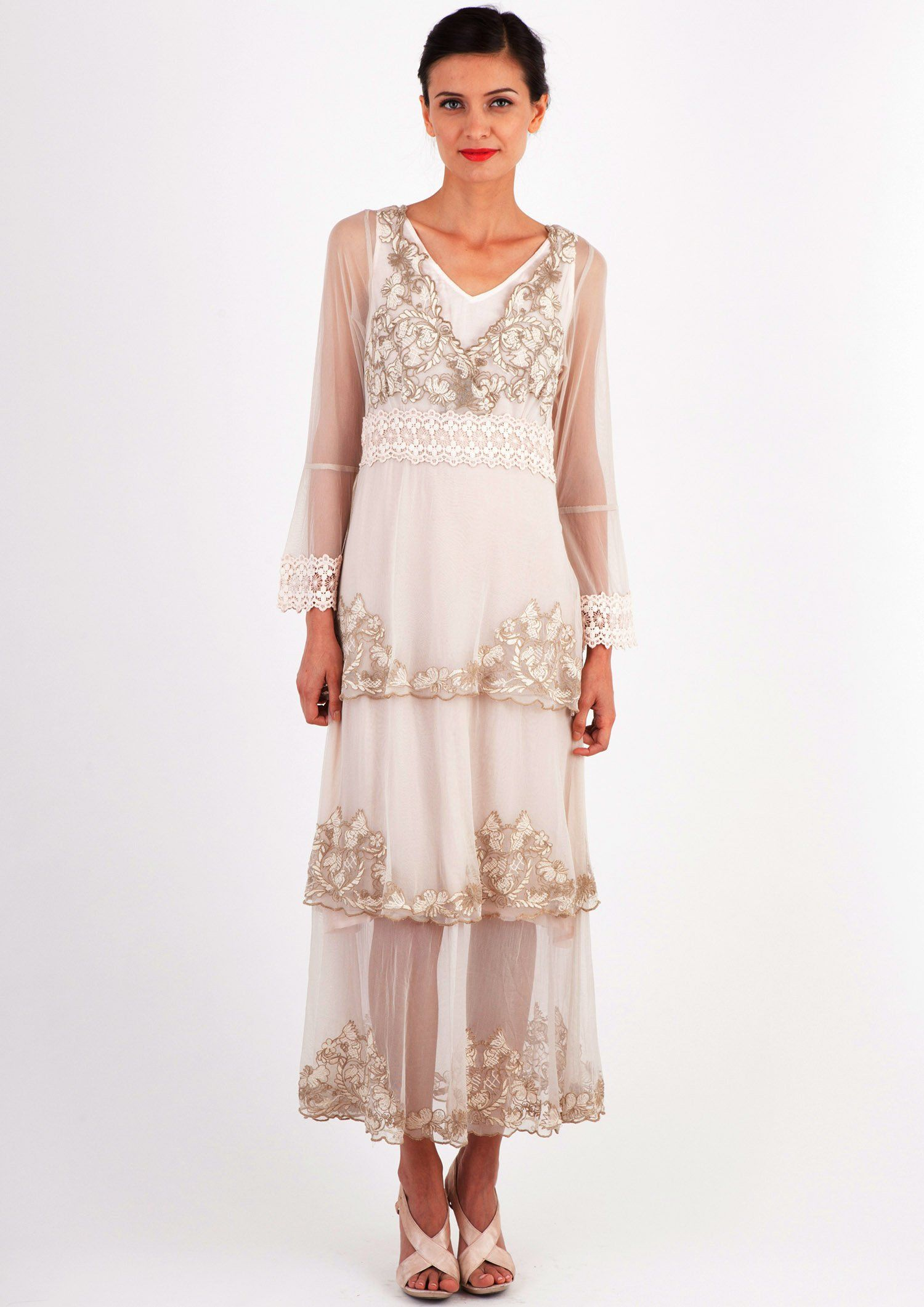 1910s 1920s Fantasy Layered Chiffon Party Dress In Beige By Nataya 198 00 At Vintagedancer