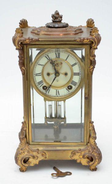 f78902eebc0 ANSONIA - Antigo relógio americano de coleção no estilo império francês com  caixa em bronze e crista
