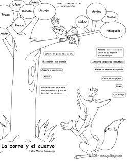La Zorra Y El Cuervo Ejercicio Para Palabras Difíciles Disney