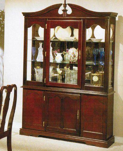 Attractive China Cabinet Buffet Hutch   Queen Anne Cherry Finish $724.63 Part 18