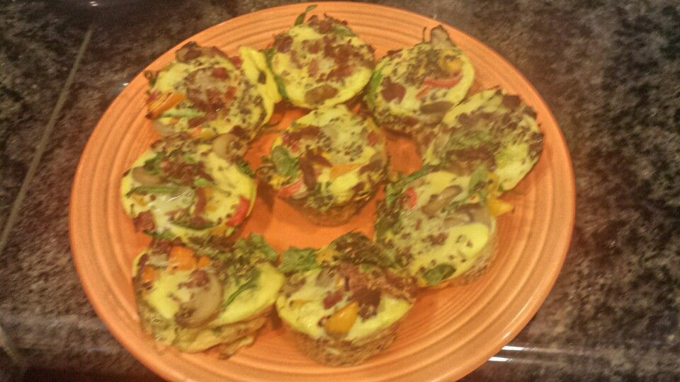 Breakfast or snack muffins 35 calories each. 3/4 cup or egg whites 3/4 cup egg beaters 1 cup cook red organic quinoa. .or any quinoa 1 cup assorted fresh veggies...I use mushrooms spinach assorted peppers spring onions Small amount of turkey bacon Bake at 375 This makes about 9 muffins. I make them on Sundays and grap two every morning for breakfast or a snack...very healthy and filling!