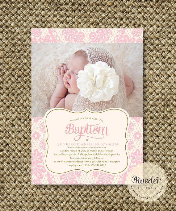 Girl Baptism or Dedication Invitation. I Customize, You Print. Digital File - Graceful Lace on Etsy, $18.00