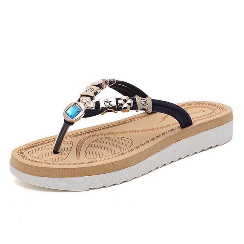 8d24ff83db62dd POPULAR Brand Thick Bottom Platform Flip Flops Rhinestone Wedge Heel Shoes  Patchwork Woman Summer Sandals