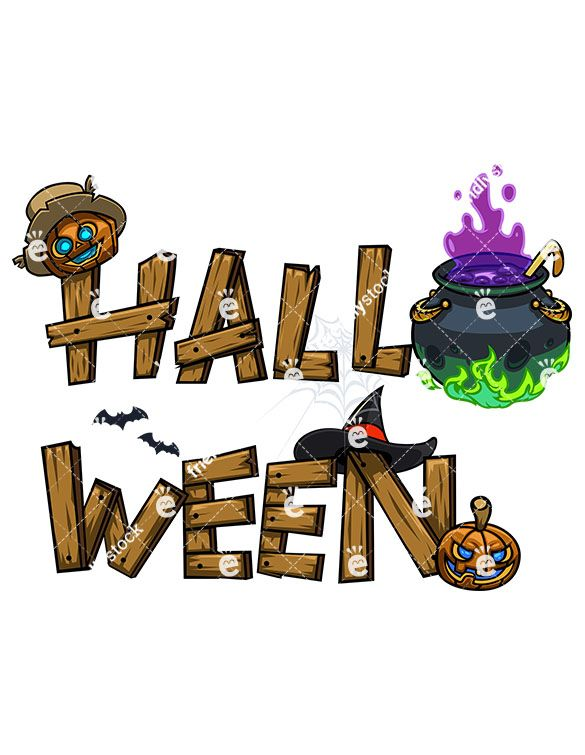 Wooden Halloween Graffiti Sign Royalty Free Stock Vector Illustration Of A Wooden Halloween Graffiti Sign Featuring A Witch Hat Some Bats