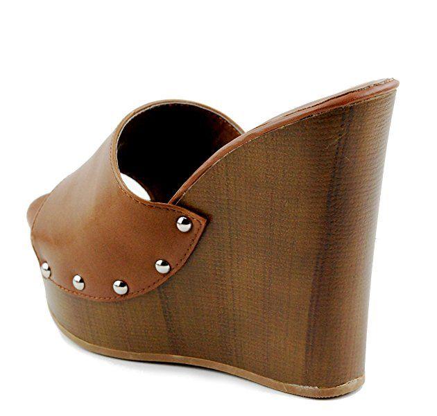 a220b3770 Jocelyn-S Womens Studded Cork High Wedge Sandals Slip On Platform Open Toe  Wood Heel Shoes (5.5