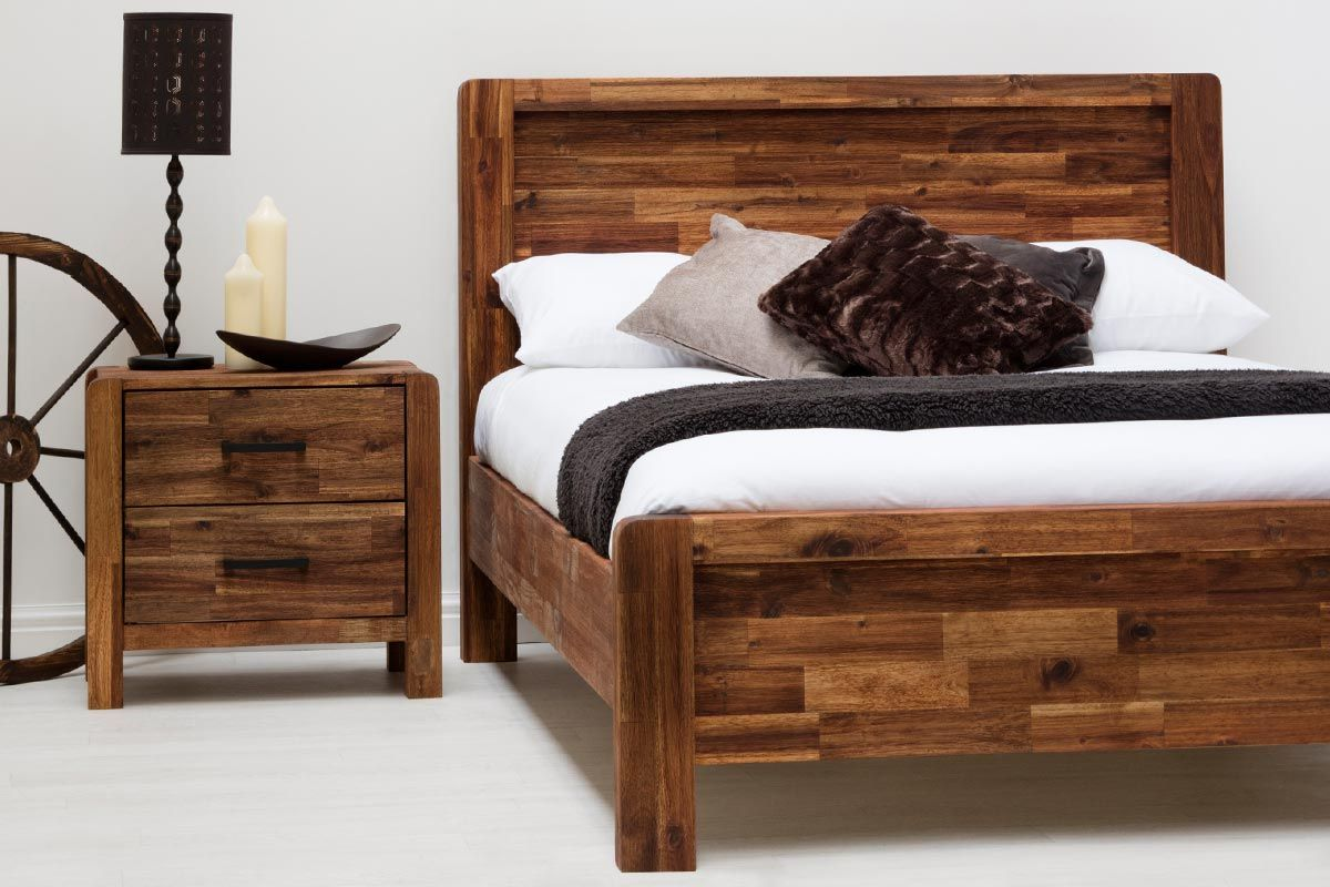Rustic Solid Wooden Farmhouse Shaker Style King Size Bed Frame