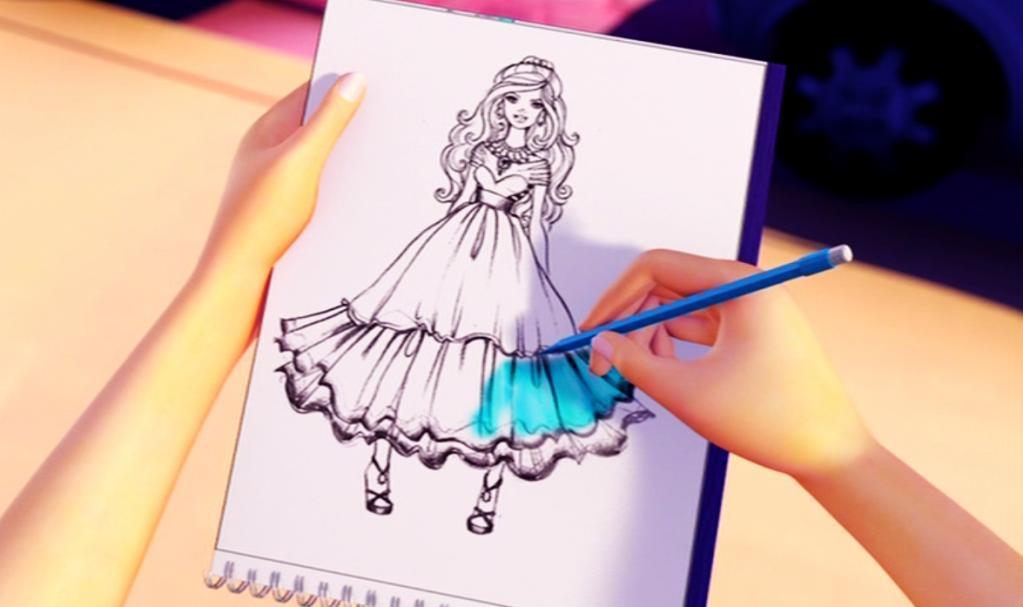 Barbie A Fashion Fairytale Dresses Sketches barbie in a fashion fa...