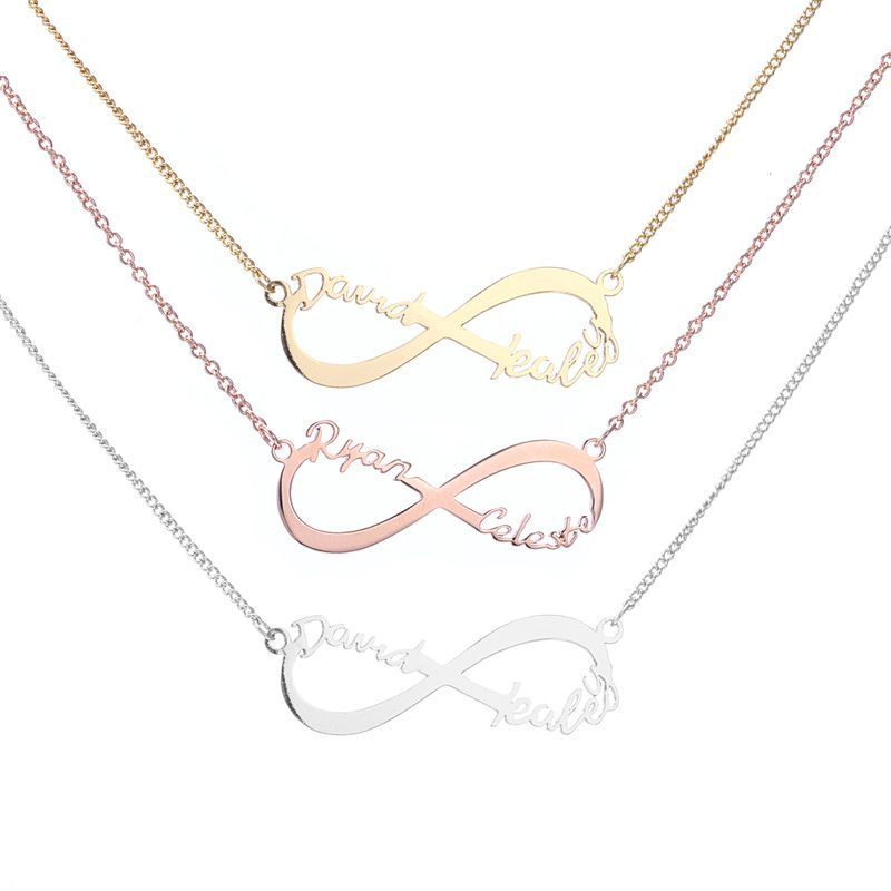 Custom Two Name Infinity Necklace Infinity Shape Necklace Infinity