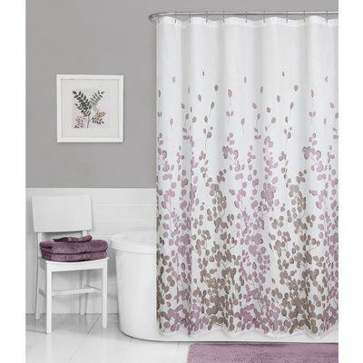 Winston Porter Thad Printed Faux Silk Single Shower Curtain Gray