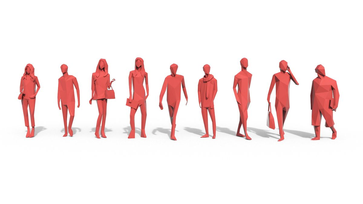 Low Poly Posed People Pack 3  This royalty free 3D model or texture