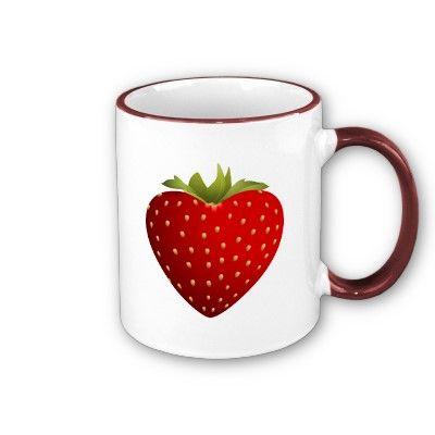 Lovely & Sweet Love Heart Shape Strawberry Mug