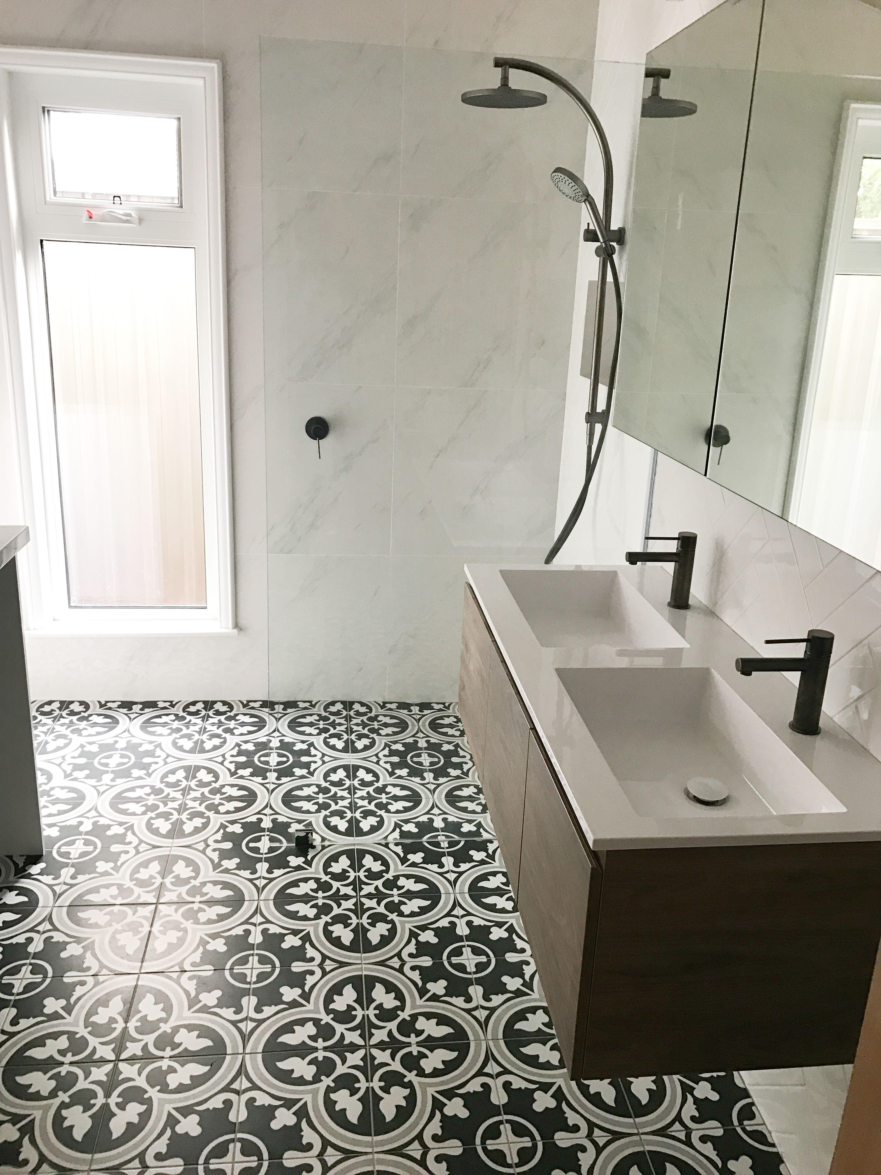 Encaustic Floor Double Vanity Laundrybathroom Combination