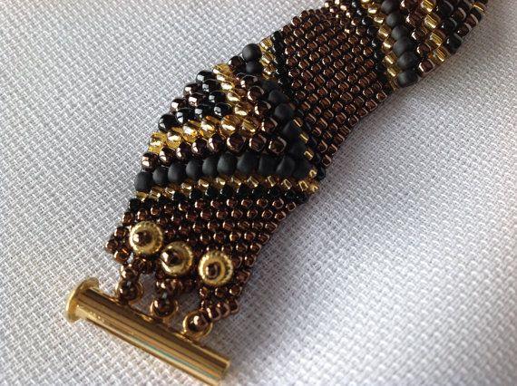 Triangle Textured Peyote Bracelet by beadandweave on Etsy