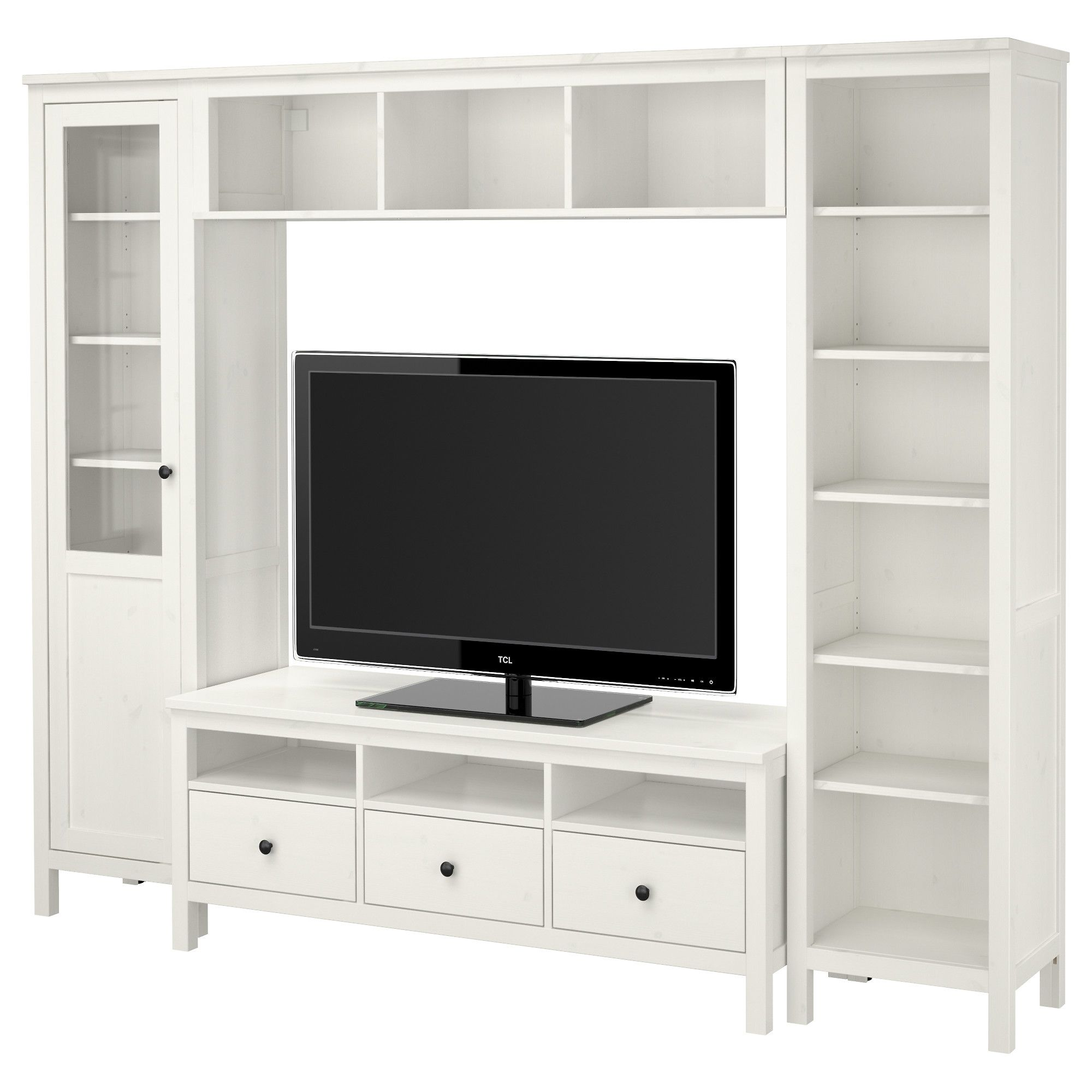 Hemnes Tv Storage Combination White Stain Ikea Width 97 1 4  # Meuble Tv Mural Ikea