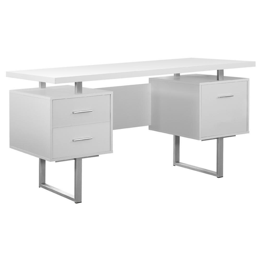 Unbranded White Computer Desk Hd7081 The Home Depot In 2020 Modern Home Office Desk White Computer Desk Modern White Desk