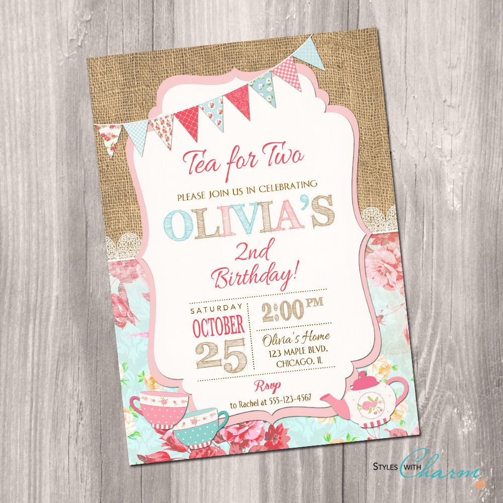 tea for two invitation, tea party invitation, 2nd birthday, Party invitations