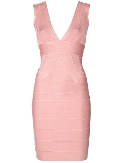 Pink sleeveless dress from Hervé Léger featuring a v-neck, a pleated bust and shoulder strap with a pleated band below the bust, a rear zip fastening, a contrasting white design tab at the rear and a horizontal ribbed pencil skirt.
