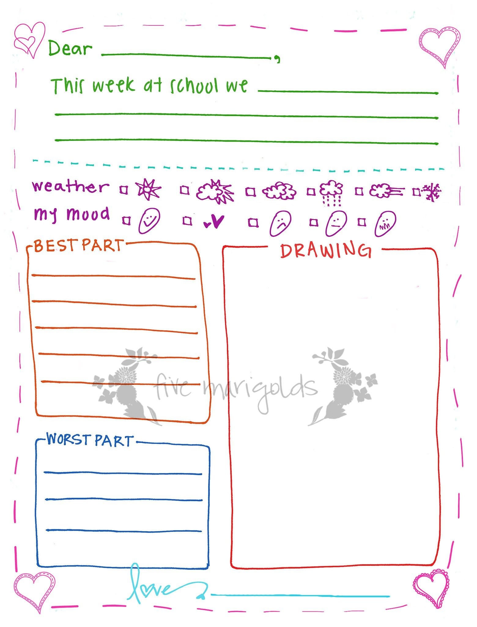Free Printable Letter Writing Templates For Grandma Pen Pal  Pen