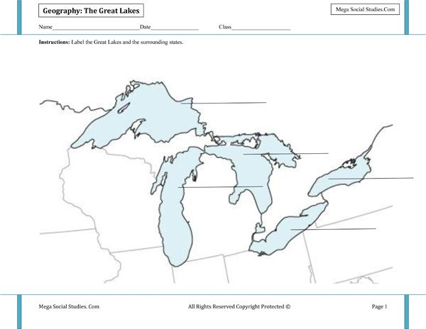 Great Lakes Labeling Worksheet | Geography Activities