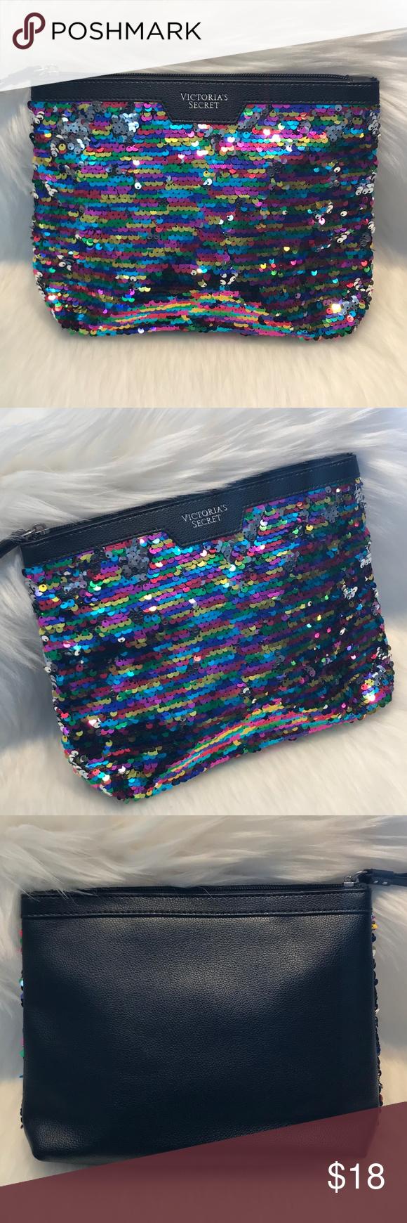 Victoria's Secret Multicolored Sequin Makeup Bag