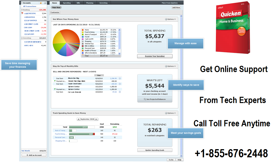 Quicken Personal Accounting 24/7 for easy money management. Visit quicken.com now.
