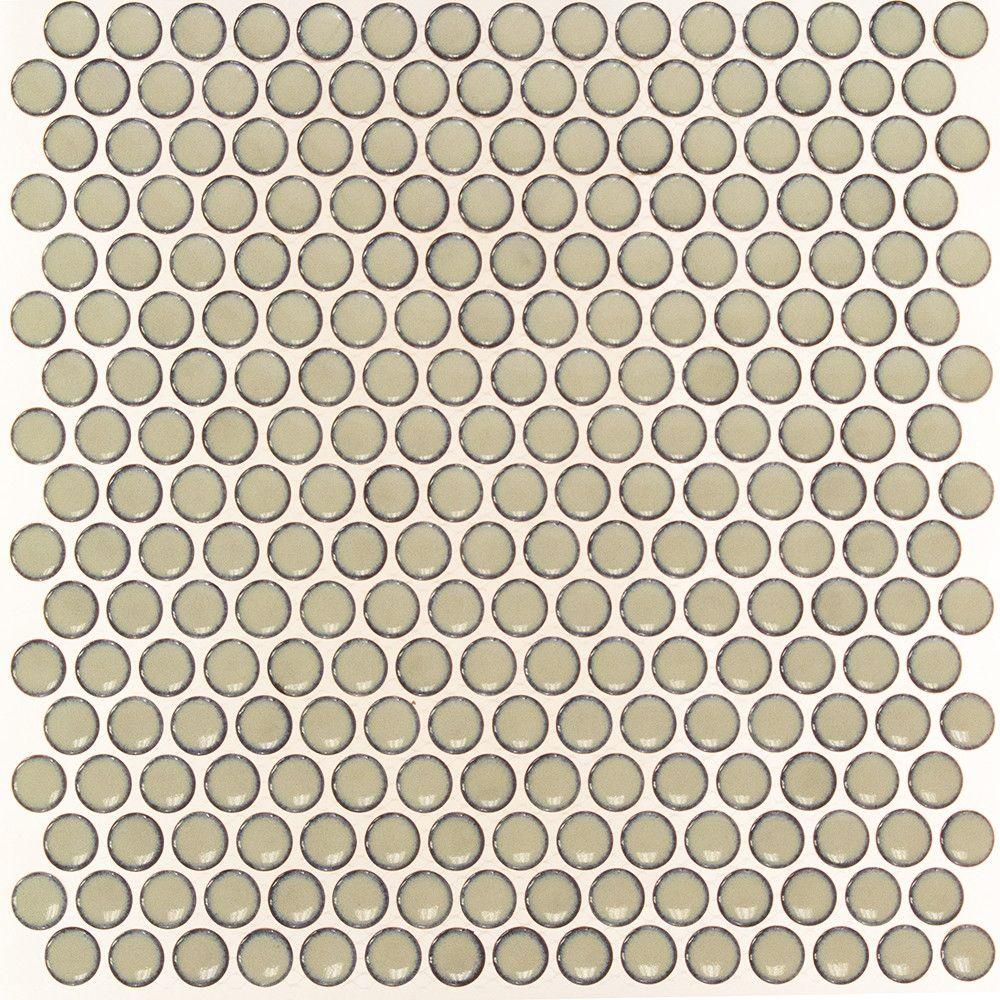 Eden Rimmed Latte Penny Round Polished Ceramic Tile