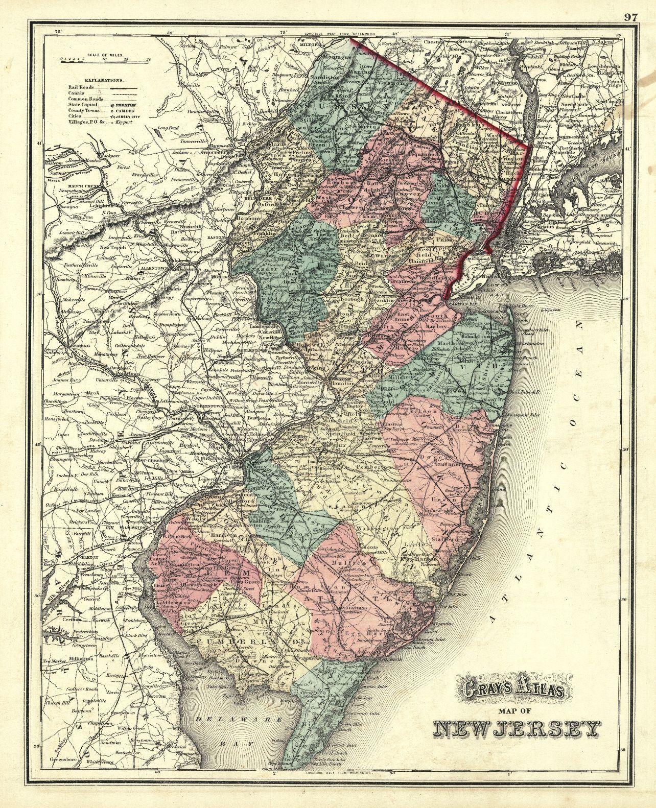 Map Antique Gray S Atlas Map Of New Jersey Stedman Brown Lyon