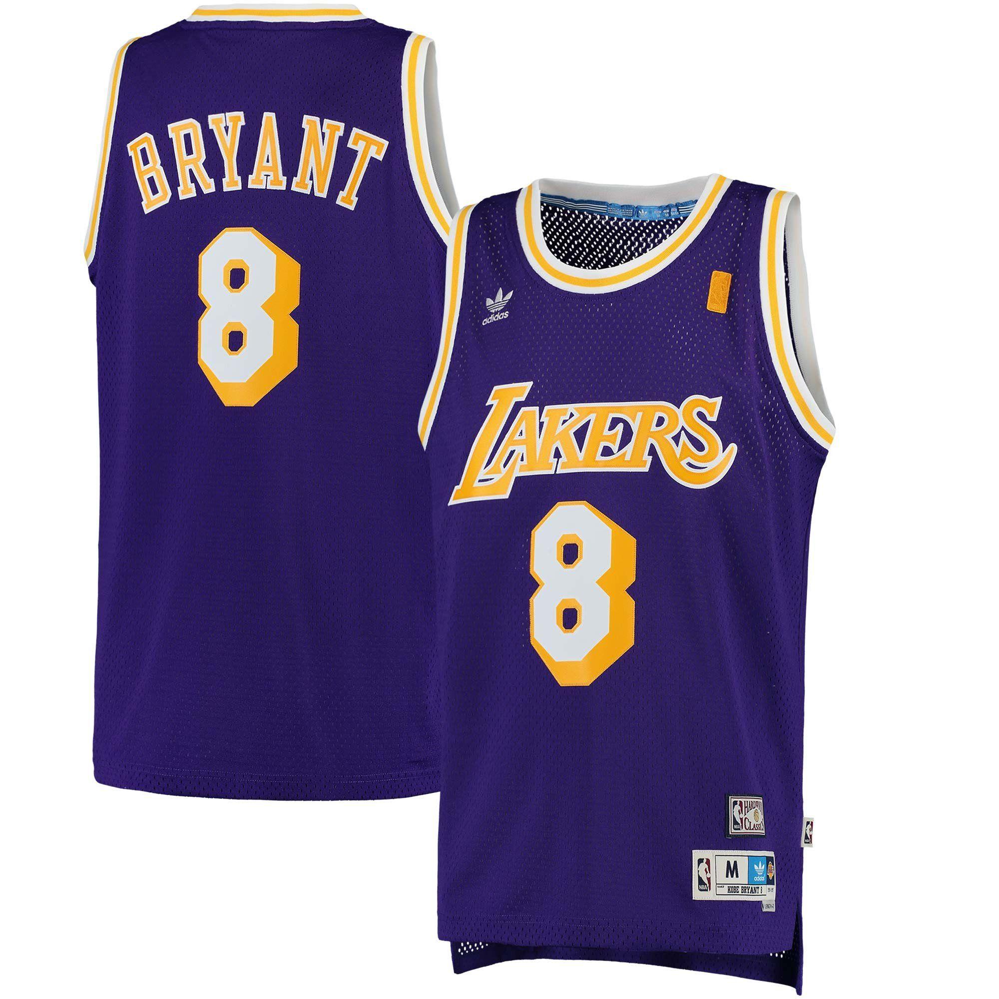 half off b14bd 9ff58 Men's Kobe Bryant Los Angeles Lakers adidas Purple Hardwood ...