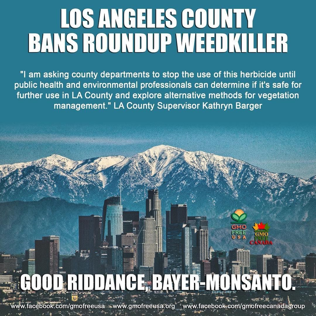 Great News Los Angeles County Bans Roundup Weedkille Gmo Free Usa Awareness Los Angeles County