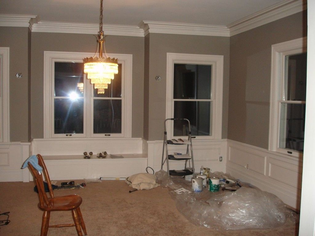 pavestone wall paint with modest white trim both by sherwin williams im dining room - Painting Dining Room