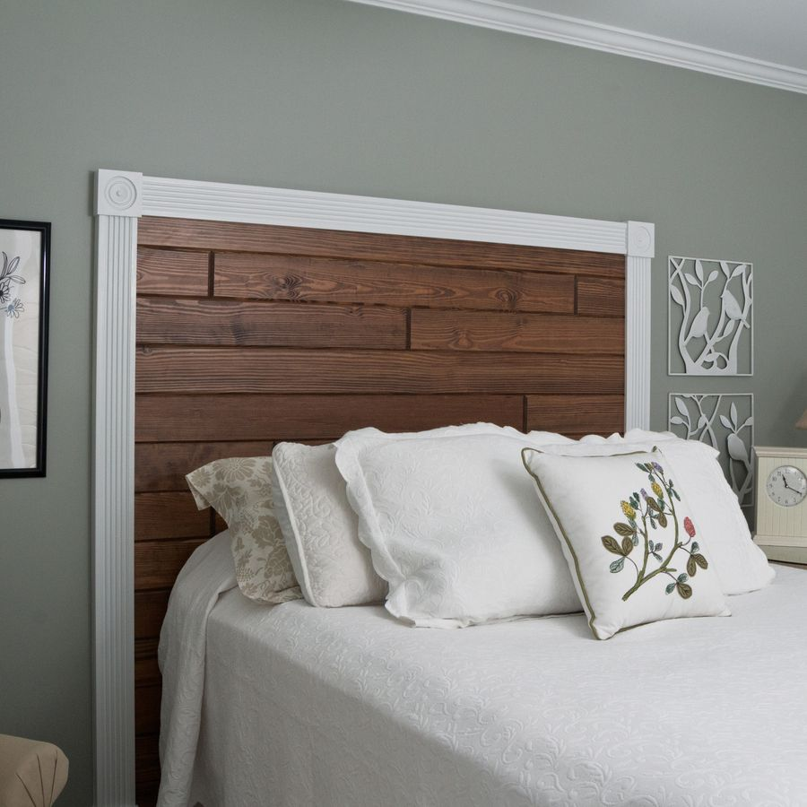 Diy A Custom Headboard With Wood Planks Framed By Decorative