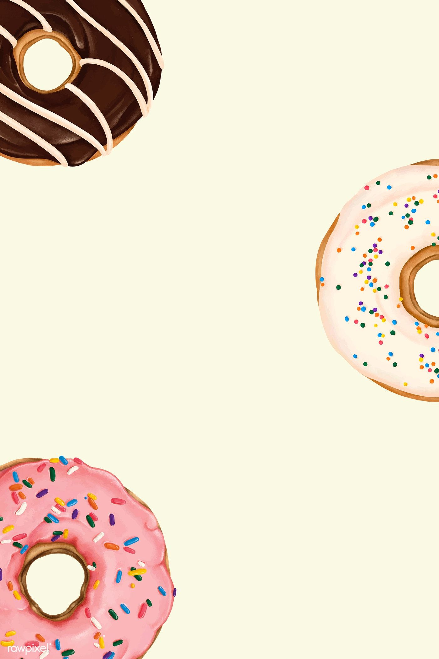 Doughnuts patterned on beige background vector free