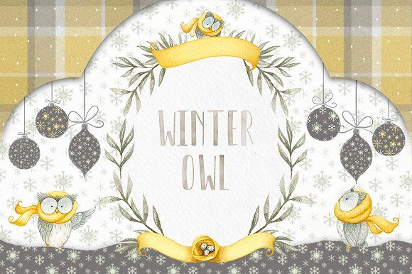 Winter Owl Watercolor Set by Watercolor Nomads on @creativemarket