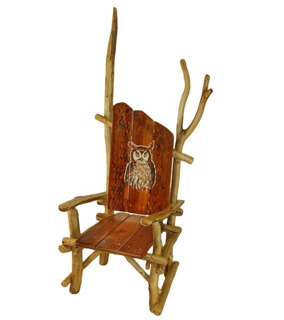 Art Furniture, Owl Chair, Reclaimed Wood Chair, Wildlife Chair, Rustic  Chair, Painted Owl Chair, Reclaimed wood furniture, Barnwood chair