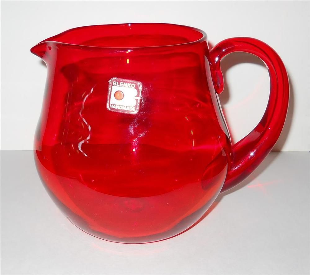 Vtg Ruby Tangerine Blenko Water Juice Pitcher Mid Century Modern Original Label Juice Pitcher The Originals Tangerine