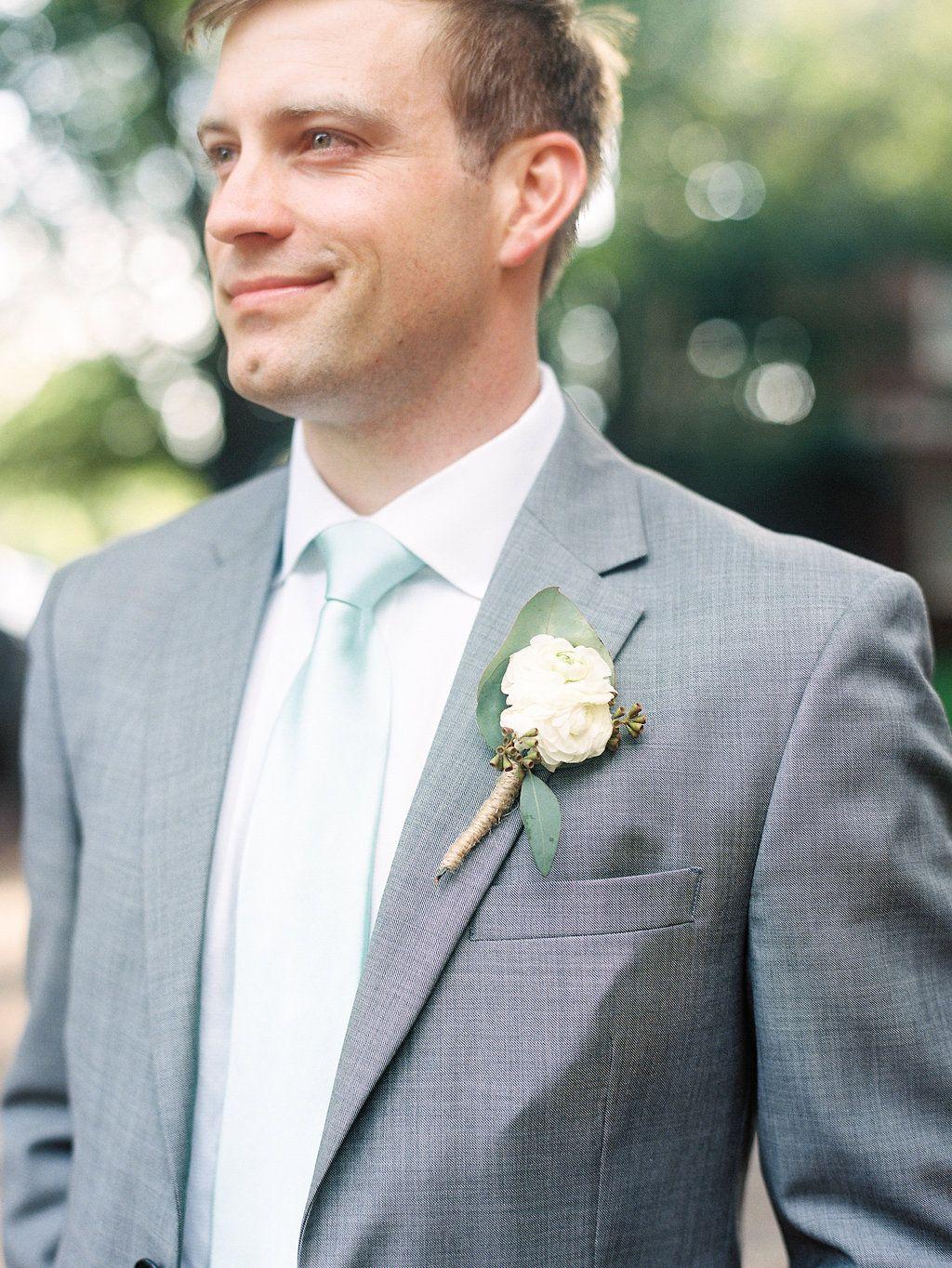 mint tie, grey suite, white shirt, groom\'s suit, boutonniere ...