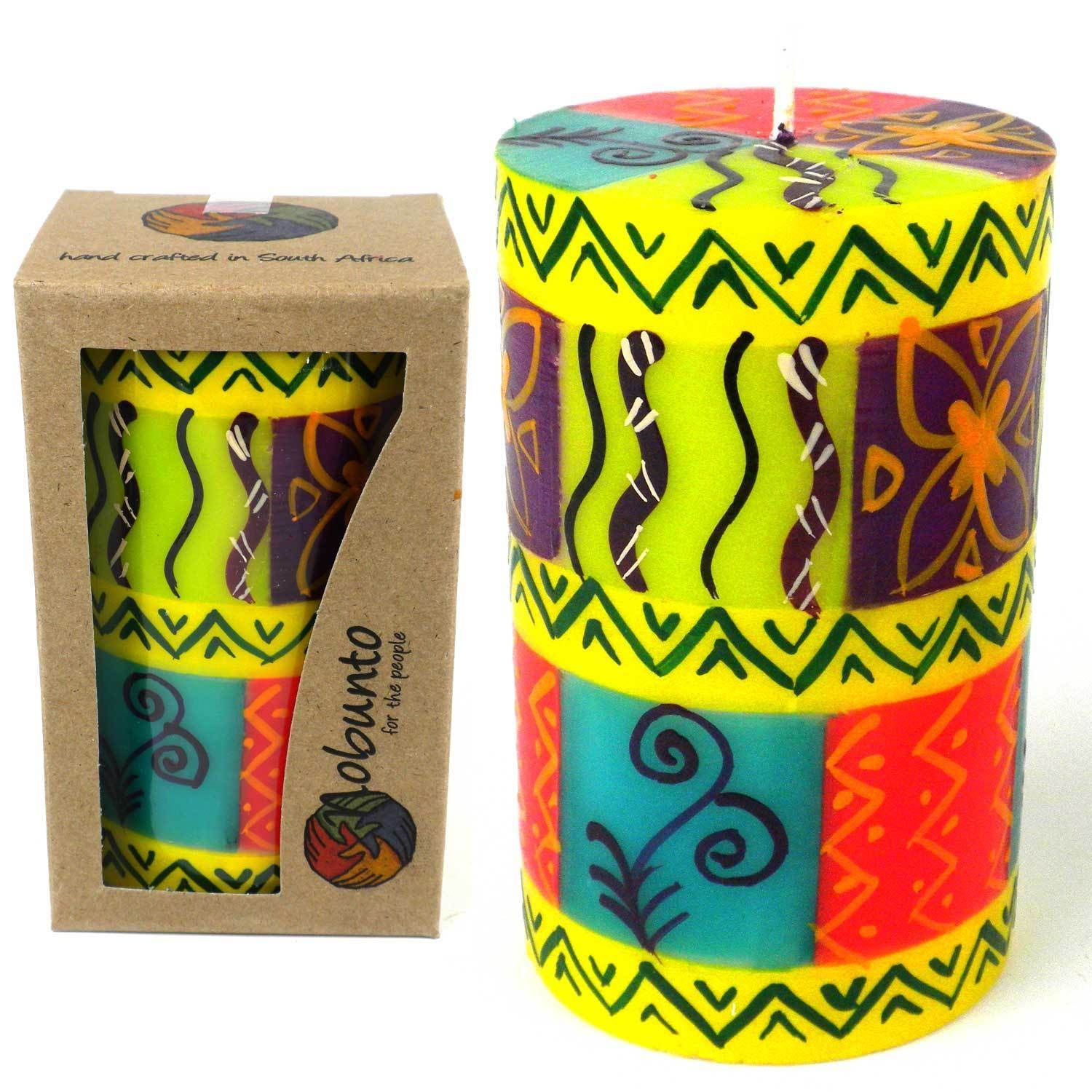 Global Crafts Single Boxed Hand-painted Pillar Candle with Matuko Design