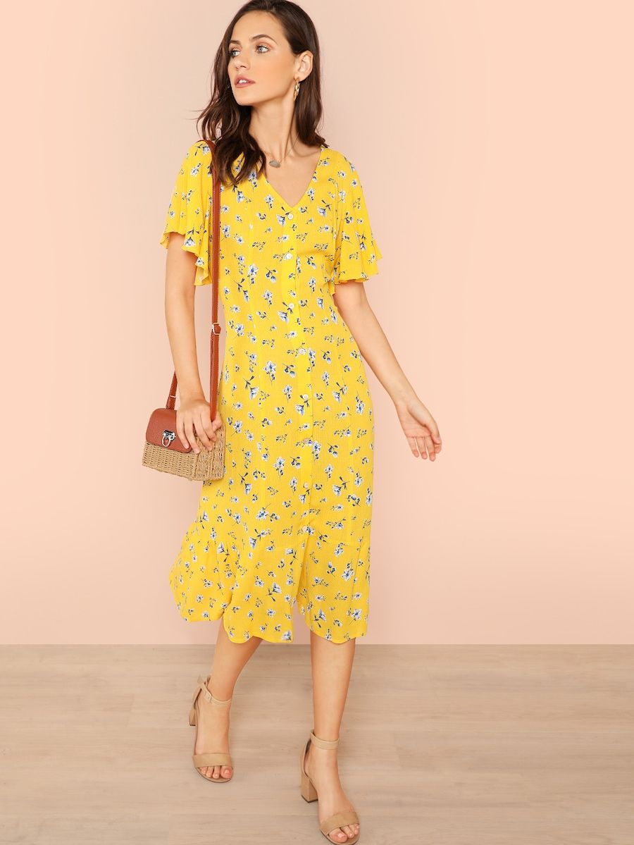 Button Through Calico Dress Shein Sheinside Calico Dress Simple Summer Dresses Dresses [ 1199 x 900 Pixel ]