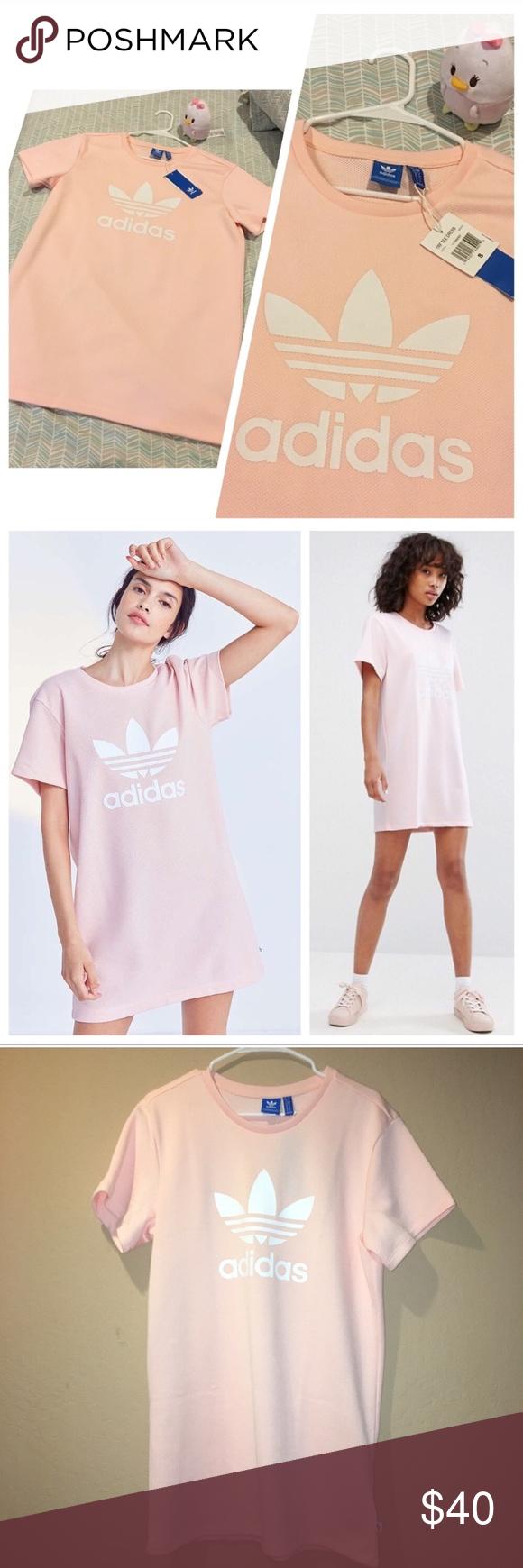 Adidas Pink Trefoil Tee Dress   Adidas sporty   chic Trefoil t-shirt dress  in d3a5b12a3