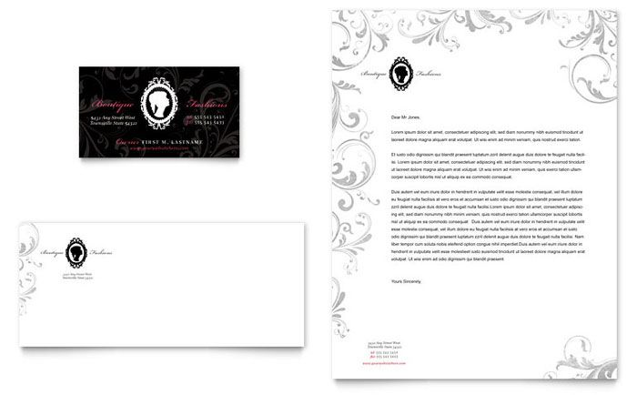 Formal Fashions \ Jewelry Boutique - Business Card \ Letterhead - business letterhead