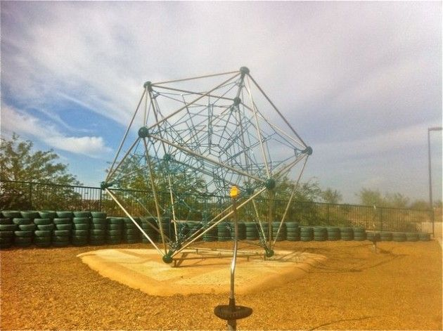 Geometric jungle gym playground at Paseo Vista Park in Chandler, Arizona.