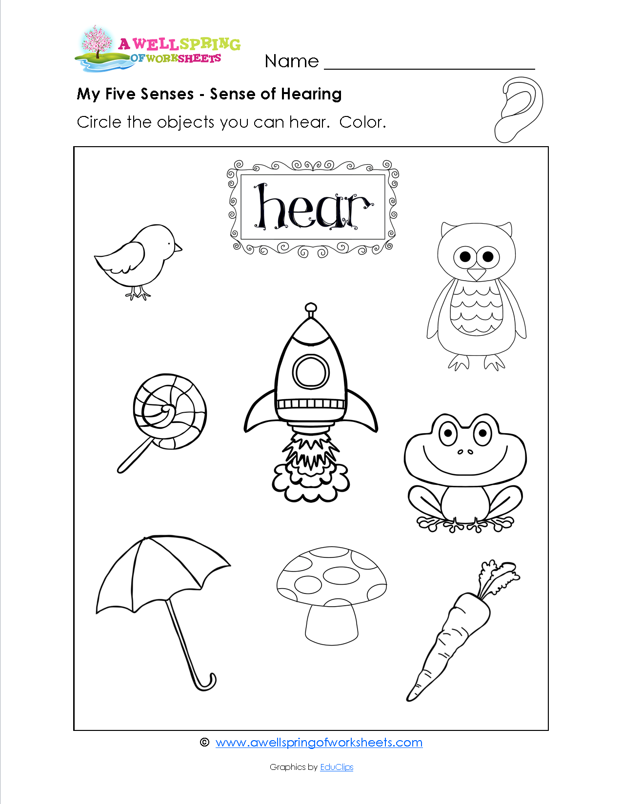worksheet Worksheet Five Senses grade level worksheets kindergarten and school five senses circle the object in these kids objects that