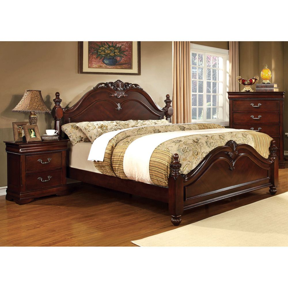 Furniture of America Bastillina English Style Cherry Four Post Bed ...