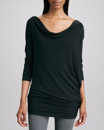 Long-Sleeve Draped Tunic by Donna Karan at Neiman Marcus.