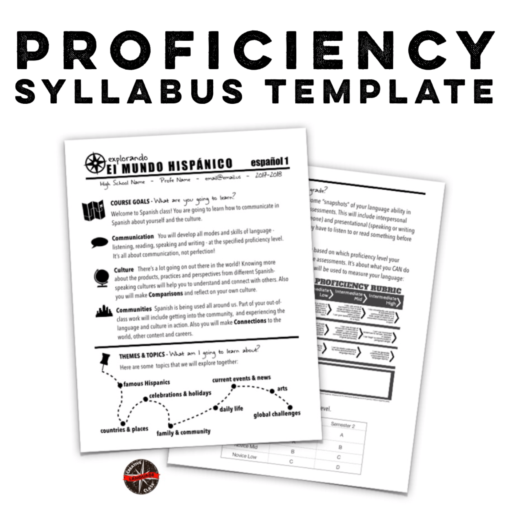 Proficiency Syllabus Template From Creative Lang Classroom
