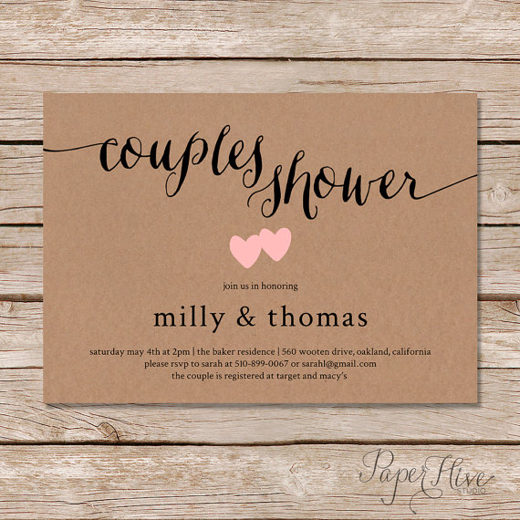 Rustic couples shower invitation kraft couples wedding shower rustic couples shower invitation kraft couples wedding shower invite diy printable digital file filmwisefo Image collections